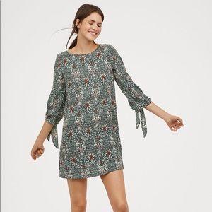 H&M x Morris & Co. Tie Sleeve Tunic Dress Green
